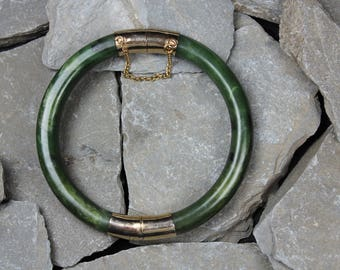 Vintage Jade Gilt Metal Bangle