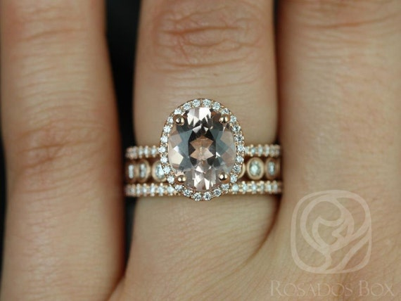 Rosados Box Jessica 10x8mm & Bubbles 14kt Rose Gold Oval Morganite and Diamonds Halo TRIO Wedding Set