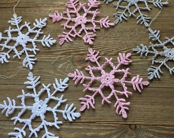 Crochet snowflakes, set of 6, Christmas ornaments, winter