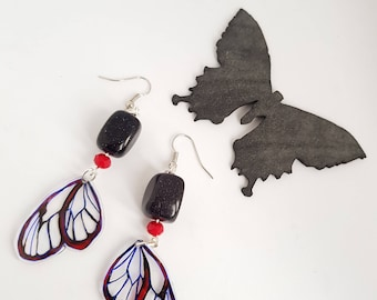 Pendant earrings with butterfly, insect earrings, blue red pendants, hand painted, made in Italy, friend gift, insect lover,