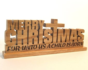 Merry Christmas wood sign For unto us a Child is born