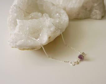 Amethyst and Moonstone on Sterling Silver Necklace