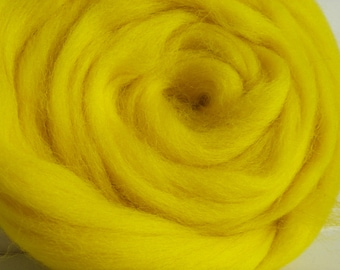 25g wool felting or spinning carded yellow worsted Merino