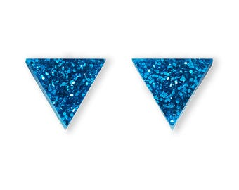 Triangle Blue Glitter Earrings - Glitter Basics Tiny Studs Small Sparkle Rad Perspex Acrylic Cute Geometric