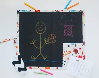 Kid's Travel Chalkboard in Sport's Theme - Kid's Art Toys - Kid's Chalkboards - Kid's Art Supplies - Travel Toys - Educational tools