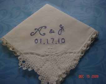 Bridal hanky/ something blue/ hanky/ hand embroidered, bridal gift, blue for bride, wedding handkerchief,