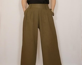 Linen pants Handmade Wide leg pants Women pants  linen clothing Pants women boho pants green casual pockets army green