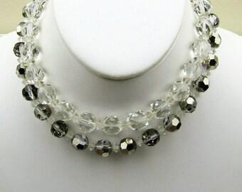 Hattie Carnegie Crystal Choker Necklace. Two Strand Czech Austria Lead Glass Beads. Iridescent White Gray Haute Couture Designer Collar