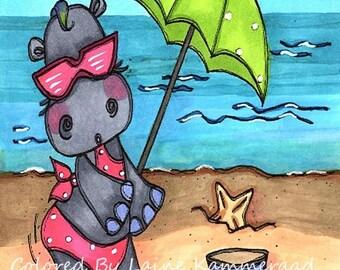 708 Sun and Sand Hippo Digi Stamp