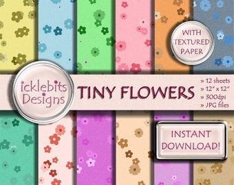 "Tiny Flowers (Pastels) Pattern (Mix and Match range) TEXTURED Digital Scrapbook Paper Pack 12x12"", 12 sheets - INSTANT DOWNLOAD #Design5"