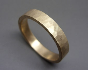 4mm Rustic Hammered Gold Ring - Thick Wedding Band in Solid 14k Yellow or Rose Gold - Flat Rectangular Band - Matte or Polished Finish
