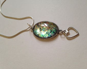 Faux fire opal pendant necklace