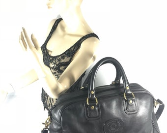 GHURKA Jordan No 152 Marley Hodgson Vintage Authentic Black Leather Duffel Bag Carry On Made in USA