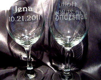 Custom Etched Large Wine Glasses for Wedding Party - Set of 4 - Bridesmaid Gift - Personalized Wine Glasses