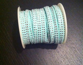 Green suede cord with silver look studded water suede double row rhinestone effect