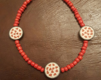 Fimo Bead Bracelet, Multi Heart (RED), VALENTINES DAY