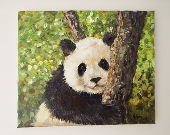 Panda painting Original painting Animal  painting Wildlife painting Original art work Panda cub painting Panda bear painting Panda on canvas