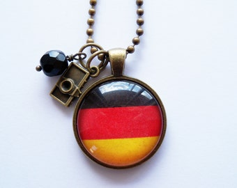Flag of Germany Necklace - German Flag - You Choose Bead and Charm - Oktoberfest Jewelry - Europe - Custom Jewelry - Black Red Yellow