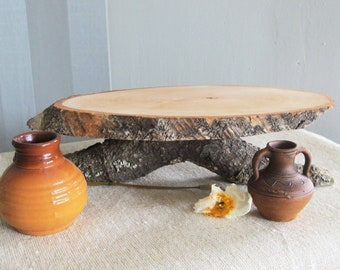 """Rustic Cake Stand, Birch Wood Cake Stand, Oval Cupcake Stand 10.5"""", Wood Centerpiece, Wedding Cake Stand"""