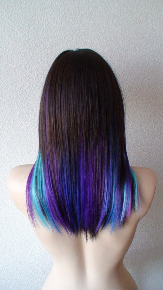 Galaxy Ombre Wig Black Pink Purple Blue Ombre Wig Straight