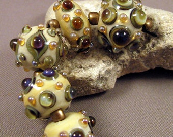 Artisan Lampwork Beads by Monaslampwork on Etsy - Ivory Gems - Lampwork Glass by Mona Sullivan Designs Jewels Organic Bohemian (4244)