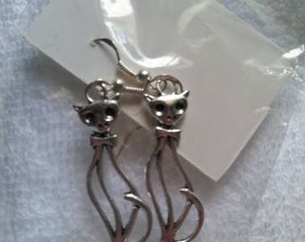 Long kitty cat earrings