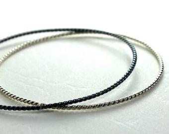 Twisted Sterling Silver Bangle Bracelet- Polished, Oxidized Fall Fashion Stacking Bangle