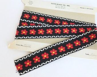 Woven Boho Bohemian Tyrolean Sewing Trim Red and Yellow Daisies on Black with White One Yard