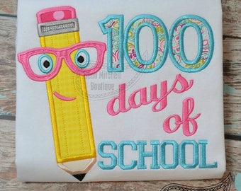 100 Days of School Embroidered Shirt / 100 Days Smarter Shirt / School Embroidered Shirt