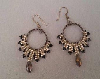 Silver And Black Dangling Earrings, Long Earrings, Fashion Earrings, Beaded Earrings