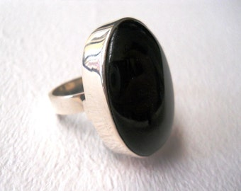 onyx ring big onyx ring modern ring striking ring big gemstone ring statement silver ring sterling silver ring
