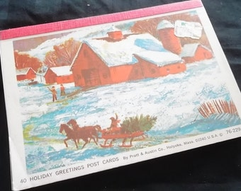 37 Vintage Holiday Greeting Post Cards, 76-229-69,  Pratt and Austin