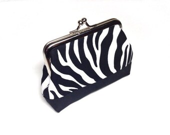 Zebra print cotton coin purse pink/black base