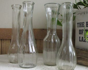 Bud Vases Set of Four (4) Different Styled Centerpiece and Flower Vase Vintage Florist Ware and Table Settings Parties Showers and Weddings