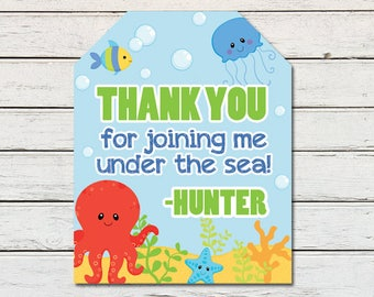 Under the Sea Animals Boy Printable Party Thank You Favor Tag (PDF File only)