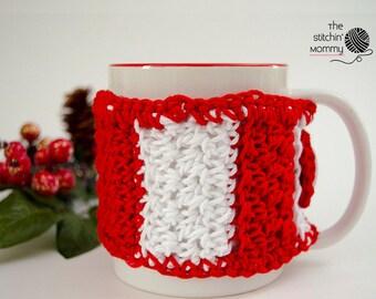 PDF Crochet Pattern - Candy Cane Striped Mug Cozy