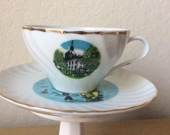 Vintage Florida Souvenir Cup & Saucer, Pre-Disney Florida Souvenir, Made in Japan