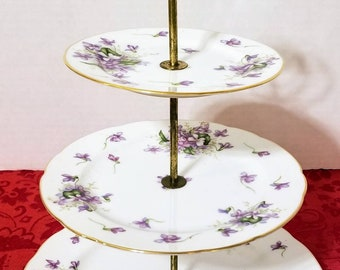 3 Tiered Hand Painted Porcelain Spring Violets Pattern Made In Occupied Japan