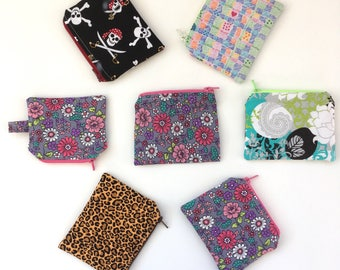 Coin Purse, Change Pouch, Small Zip Wallet, Zipper Pouch, Ear Bud Case, Lunch Money Bag, Stocking Stuffer, READY TO SHIP