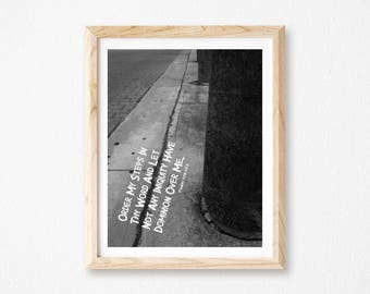 """Order My Steps, Religious Gift, Black and White Photography, Bible Art, Christian Wall Art, Digital Collage Art, Scripture Art, 8"""" x 10""""."""