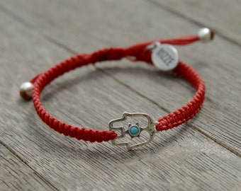 Red Hamsa Bracelet with Turquoise Swarovski Crystal For Protection and Good Luck