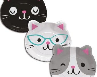 Cat Face Dinner Plates/ Cat's birthday/ Cat birthday party / kitty plates / kitten plates / party plates/ cat party/ cat plates