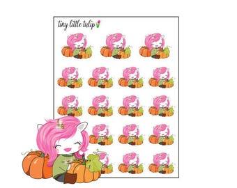 Planner Stickers Unicorn w/ Pumpkins
