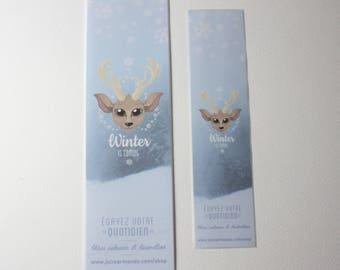 Great Winter Snow Deer bookmark