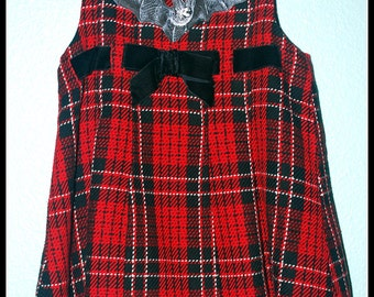 Girls Rockabilly Gothic Dress in Red Plaid Bat ........Size 24 months/ 2