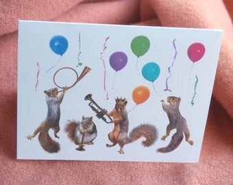 Party Squirrels Printable Card, Music Party Printable New Years Card