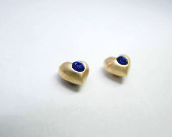 Mini Heart Earrings with Blue Sapphires Solid 14K Yellow Gold Small screw back Earrings