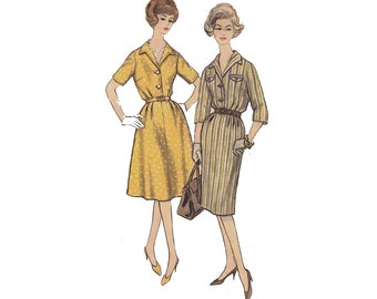 1960s Dress with 2 Skirts Full Figure Bust 41 Simplicity 3758 Rockabilly Flared or Slim Shirtwaist Slenderette Dress Sewing Pattern