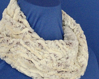 Textured Minky Infinity Scarf - Cream Brown Faux Fur Cowl