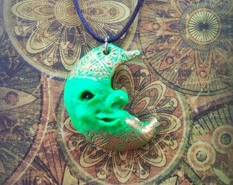 Fantasy Moon face handmade pendant fantasy charm necklace